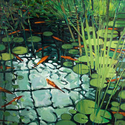 """Goldfish Pond - Royal Botanic Gardens Edinburgh"" oil on canvas"