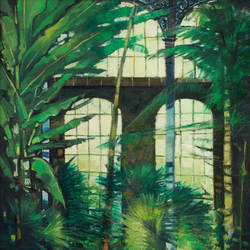 """Glasshouse Interior - Royal Botanic Gardens Edinburgh"" oil on canvas"