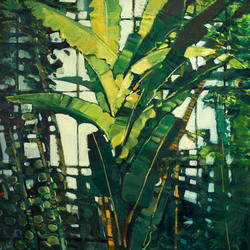 """Palm Tree - Royal Botanic Gardens Edinburgh"" oil on canvas"