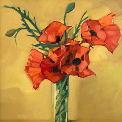 Poppies in a narrow jar - oil on canvas