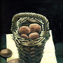 Basket of potatoes - oil on canvas