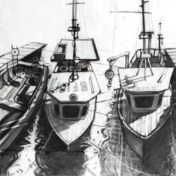 Fishing Boats - Charcoal and Conte