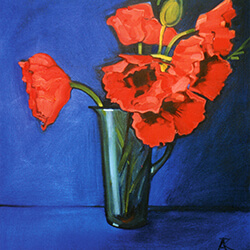"""Poppies in a Vase"" oil"