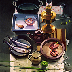 """Still Life with Oil Lamp"" oil on canvas"